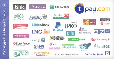 Księgowanie online zapewnia system płatności internetowych Transferuj.pl , dzięki któremu mogą Państwo wybrać jedną z 40 metod płatności